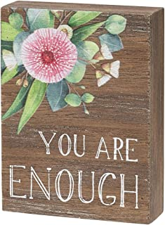 """Collins Painting Inspirational Wood Grain Mini Block Sign, 4"""" (You are Enough)"""