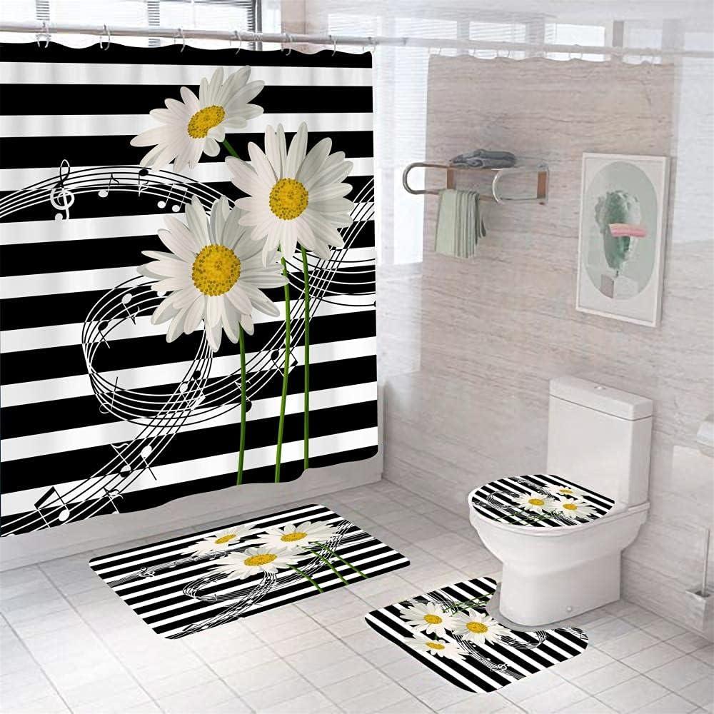 Bathroom Mat online shopping Limited price sale Sets Black White 3D Print Piece Stripes 4