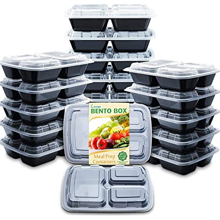20Pcs Meal Prep Containers 3 Compartment Food Storage Reusable Microwave Plastic