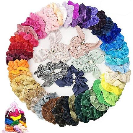 50pcs Velvet Scrunchies Women Elastic Hairband Hair Rings Ponytail Holder