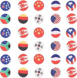 EXCEART 100Pcsポリマークレイカボション国旗ラウンドチャームスライスルーズビーズフラットバックボタンdiyネイルアートフィラースクラップブック電話ケース装飾ジュエリー作り工芸品10mm