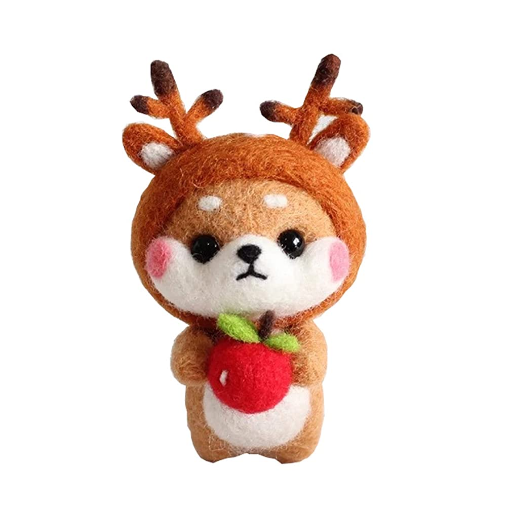 Cool Beans Boutique Wool Felting DIY Kit with Tools – Shiba Inu Dog with Deer Antlers (with English Instructions) – Great Starter kit