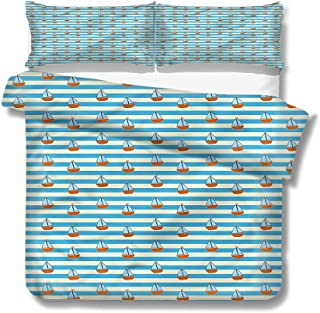 Mademai Twin Size Duvet Cover Set Sail Boat,Stripes Cartoon Boats for Kids/Teens/Adults Hidden Zipper Quilt Cover Printed