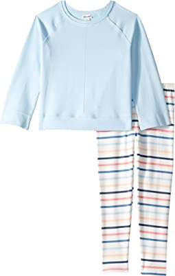 Baby French Terry Raglan Top Stripe Pants Set (Toddler/Little Kids)