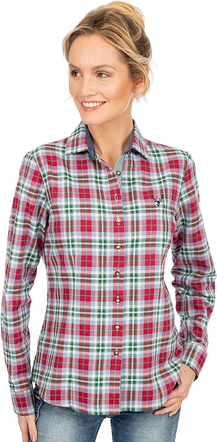 OS-Trachten Traditional Blouse Giselle Green red
