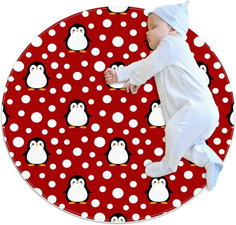 Red Courier shipping free Dot Cute Penguin Pattern Las Vegas Mall Kids Floor Mat Crawling Ro Playmat