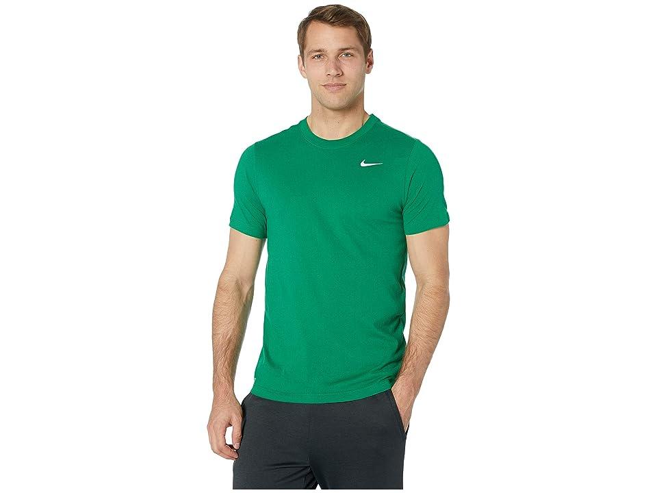 Nike Dry Tee Dri-FITtm Cotton Crew Solid (Pine Green/White) Men