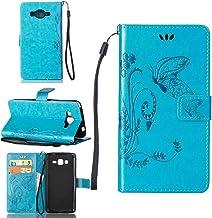 pinlu Funda para Samsung Galaxy Grand Prime (G530 / G5308) Función de Plegado Flip Wallet Case Cover Carcasa Piel PU Billetera Soporte con Mariposa Grass Azul
