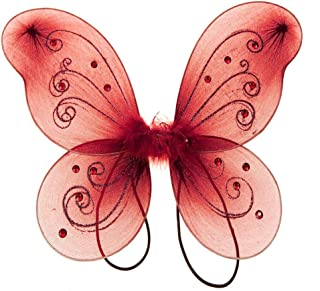 Homeford Firefly Imports Organza Nylon Butterfly Wings with Glitters, 12-Inch, Red