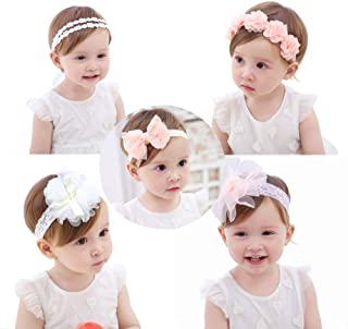 Baby Girls Headbands, AOKE Chiffon Flower Lace Band Hair Accessories for Newborns, Toddlers and Children