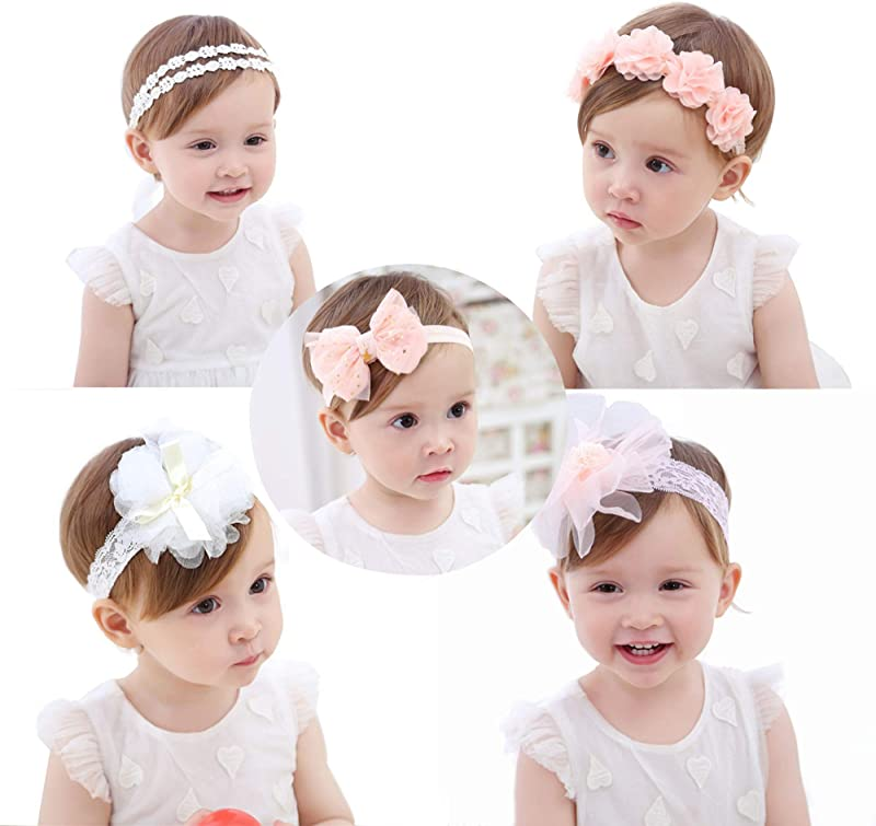 Baby Girls Headbands AOKE Chiffon Flower Lace Band Hair Accessories For Newborns Toddlers And Children