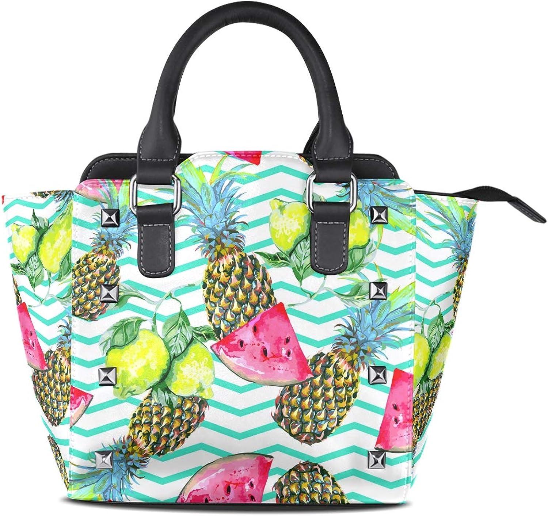 My Little Nest Women's Top Handle Satchel Handbag Watermelon Lemon Pineapples Ladies PU Leather Shoulder Bag Crossbody Bag