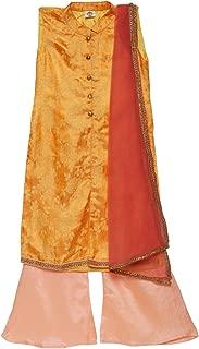 K&U Girl's Indian Ethnic Traditional Party & Festive Wear Kurta Palazzo Set Orange and Peach Sleeveless with Dupatta