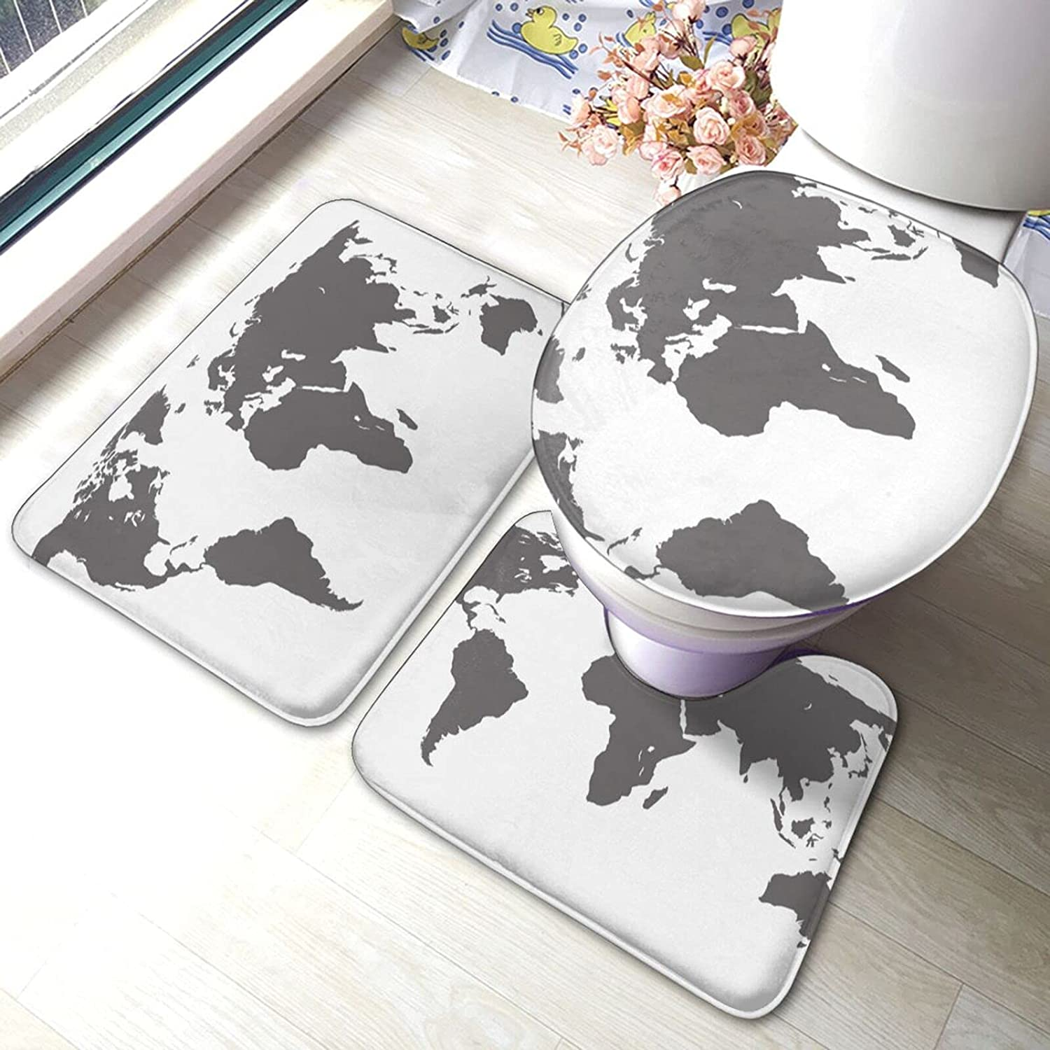 World Map-1 security Bathroom Limited time trial price Antiskid Set Sho 3 Bath Piece Pads