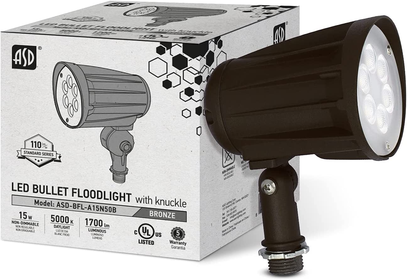 ASD 15W Popular LED Mail order cheap Bullet Flood Light Replaces 5000K - Daylight 1700lm