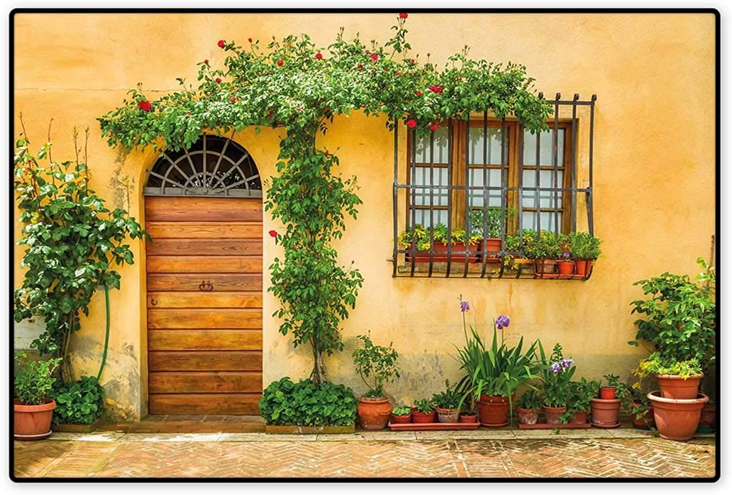 Door Mat Indoors Porch with Different Flowers Pots Fresh Green Plants City Life in Tuscany Floor Mat Pattern 32 x48  Apricot Green Brown