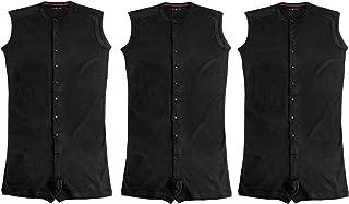 Evolve Men's Sleeveless One Piece Shorts Thermal Underwear - 3 Pack Set