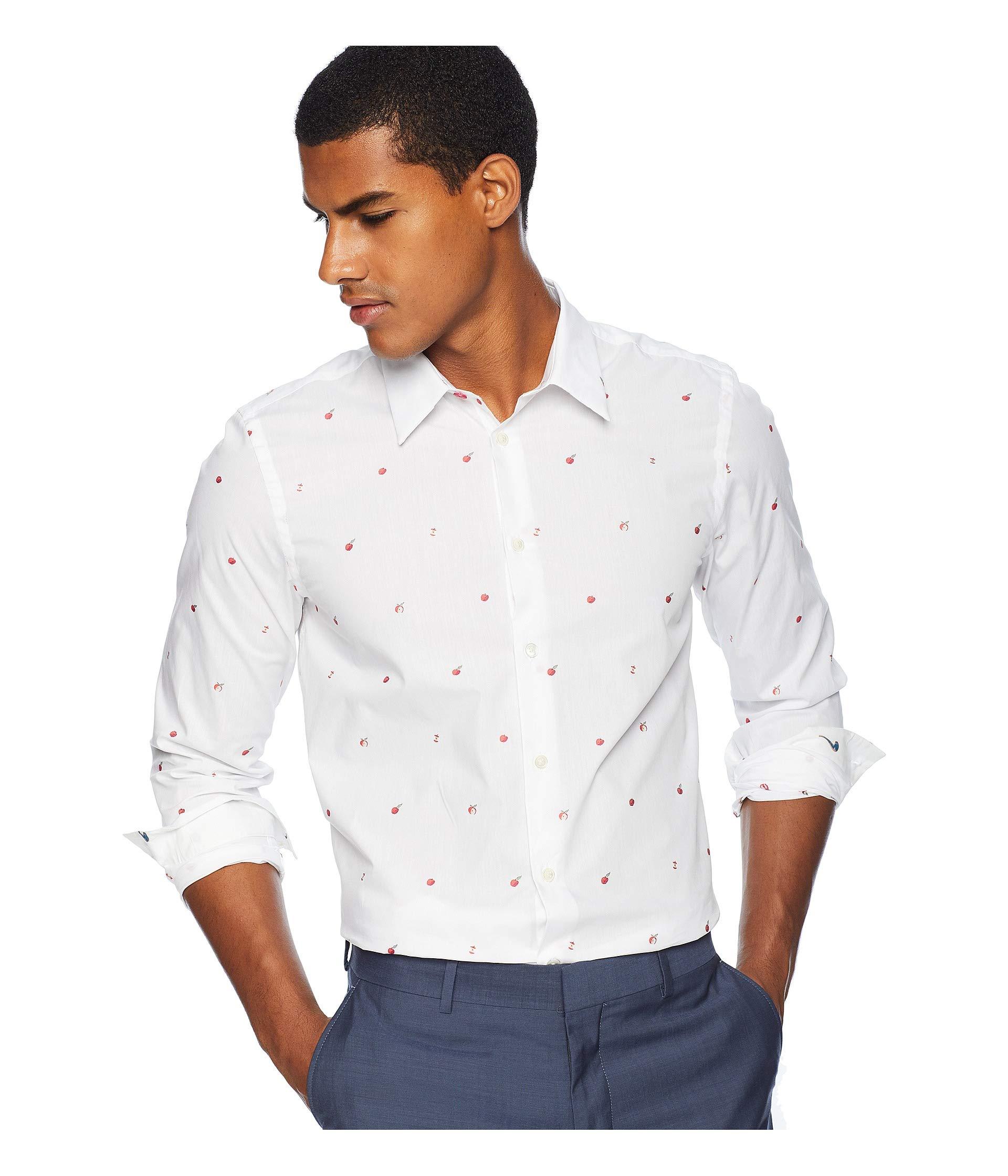 Shirt Long Paul Tailored Apples Sleeve White Smith Mini Fit pfxq5Xx