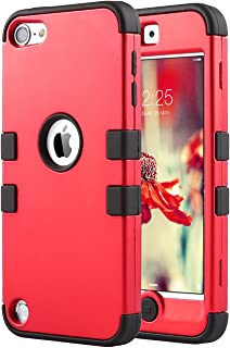 ULAK iPod Touch 7 Case, iPod Touch 6 Case, Heavy Duty Shockproof Protective Cover with Dual Layer Hard PC+ Soft Silicone for Apple iPod Touch 7th/6th/5th Generation (Red/Black)