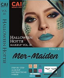 11-Piece Makeup Set Halloween Hottie Costume FX Face Paint Make Up Kit for Adults, Mer-Maiden Mermaid