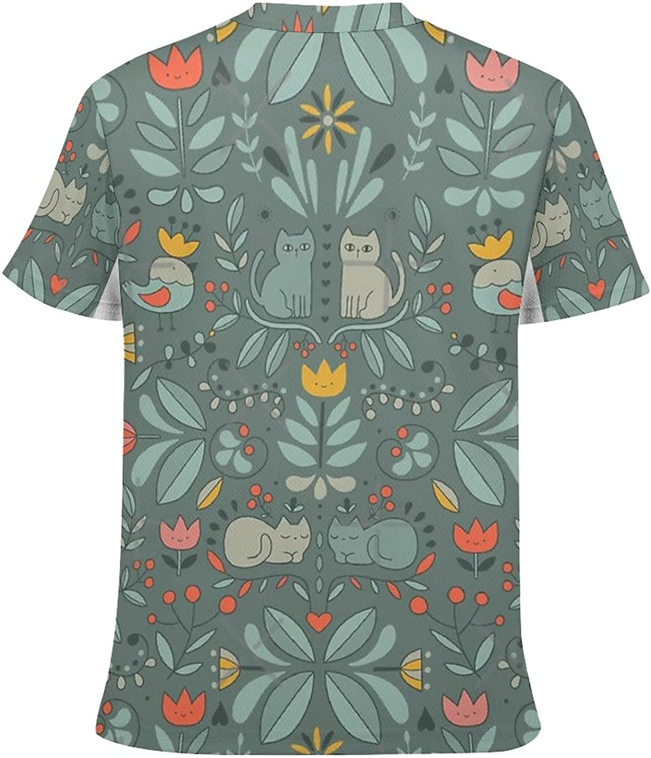 Orange Flower Scarf Youth Quick Dry Short-Sleeved Breathable Full Print T-Shirt Set top