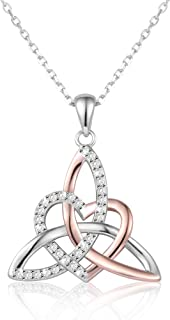Celtic Trinity Knot Necklace Irish Jewelry Triquetra Trinity Vintage Heart Pendant Necklace Earrings for Women Girl Mother Daughter Gift