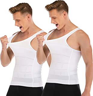 Mens Compression Shirt to Hide Gynecomastia Moobs Slimming Body Shaper Vest 2 Packs