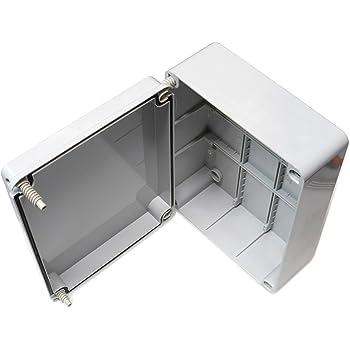 Caja de conexiones con tapa abisagrada (240 x 190 x 90 mm), de plástico PVC resistente