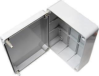 Caja de conexiones con tapa abisagrada (240x 190 x 90mm), de plástico PVC resistente al agua (grado de protección IP56), adaptable para la conexión de cables eléctricos para iluminación de exteriores