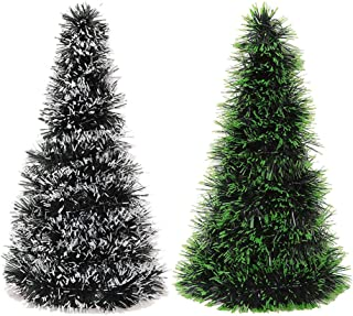 Holibanna Mini Christmas Tree Tabletop Artificial Pipe Cleaners Christmas Tree Decoration 26CM 2 Pcs (White and Green)
