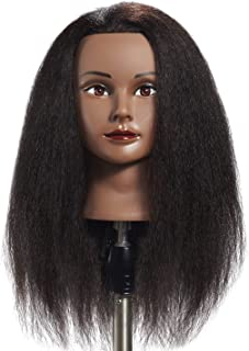 Hairginkgo 100% Real Hair Mannequin Head Hairdresser Training Head Manikin Cosmetology..