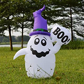 5 Foot Halloween Inflatable Ghost Air Blown Fairy with Boo Yard Decorations, Clourful Lighted Halloween Deco for Yard Patio & Garden Kids Party Outdoor and Indoor Decoration,