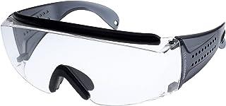 山本光学 YAMAMOTO NO.331 オーバーグラスタイプ保護めがね 上部クッションバー&ノーズパッド付き 大型眼鏡併用可 ワイドテンプル グレー PET-AF(両面ハードコートくもり止め) 日本製 JIS 紫外線カット