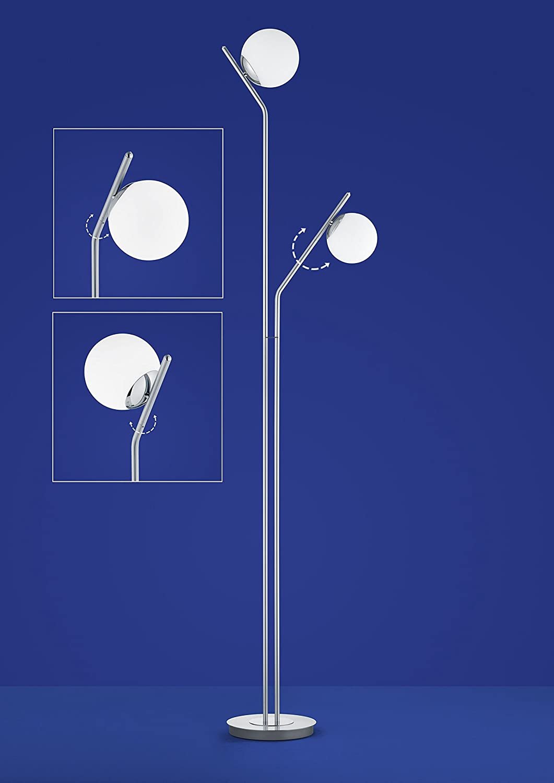 Deutsche LED Stehleuchte nickel matt Tastdimmer 2 Flammig 1800lm Glas Deutsche LED Stehleuchte Messing matt Tastdimmer 2 Flammig 1800lm Glas