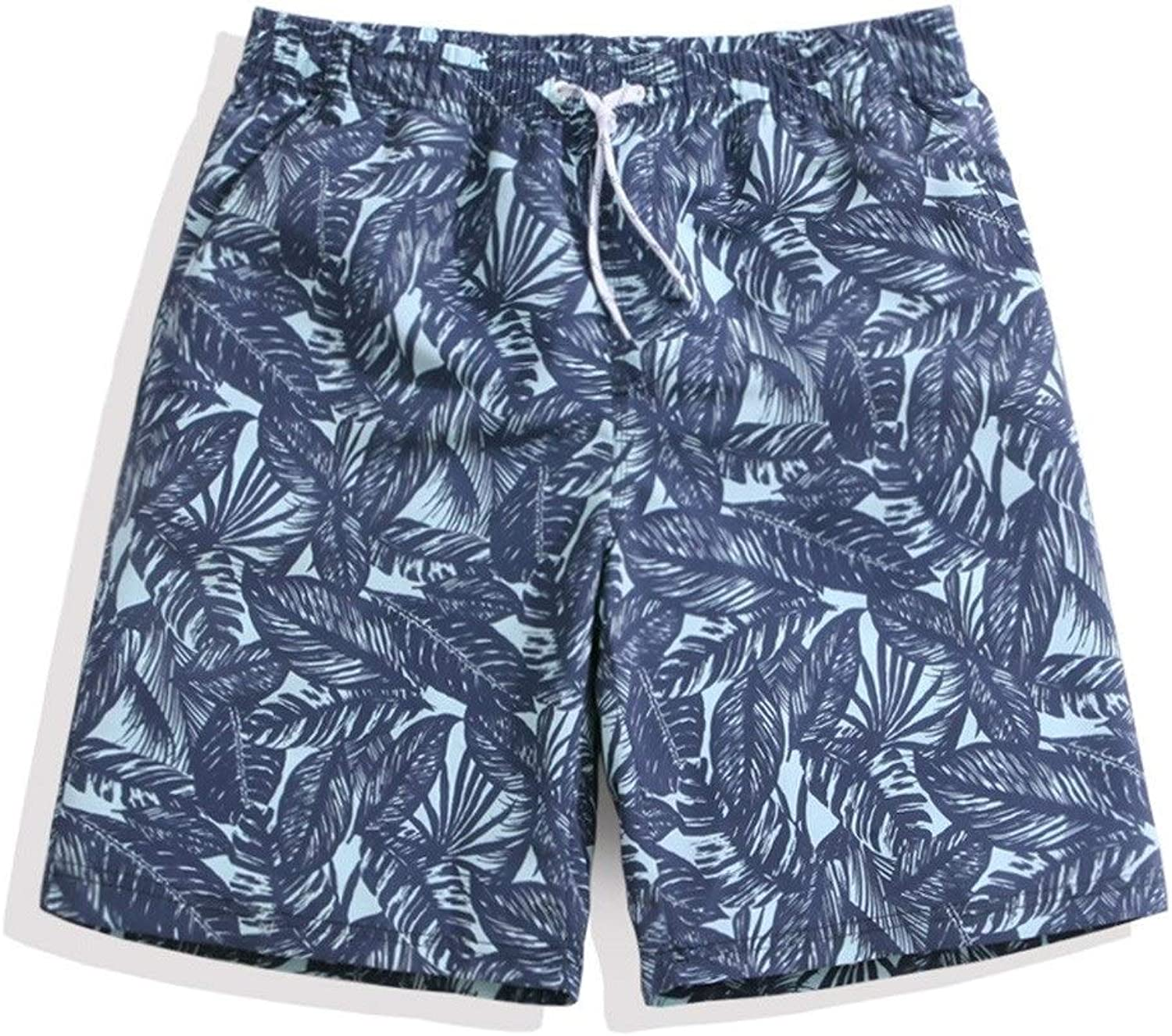 Beach Shorts Leaf Print Loose Thin Beach Pants Men's QuickDrying Surf Pants with Mesh Lining (Size   XXXL)