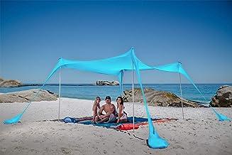 پناهگاه آفتاب چادر ساحلی SUN NINJA Pop Up با بیل ماسه ای ، گیره های زمینی و قطب های ثبات ، سایه در فضای باز برای سفرهای کمپینگ ، ماهیگیری ، تفریح حیاط خلوت یا پیک نیک (10 قطعه 10 قطعه FT 4 قطب ، فیروزه ای)