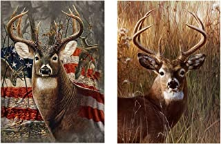 [2 Pack] 5D Diamond Painting Kit Full Drill, Annomor DIY Diamond Rhinestone Kits Embroidery Cross Stitch Arts Craft, Home and Office Wall Decor Gift, 11.8'' X 15.7'' (Deer&Deer with American Flag)