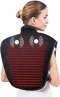 Snailax - Almohadilla de calor para la espalda, cuello y hombros, con niveles de calor ajustables y masaje vibratorio para aliviar dolores de cuello y hombros, con apagado automático
