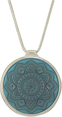Etched Inlay Pendant Necklace 28""