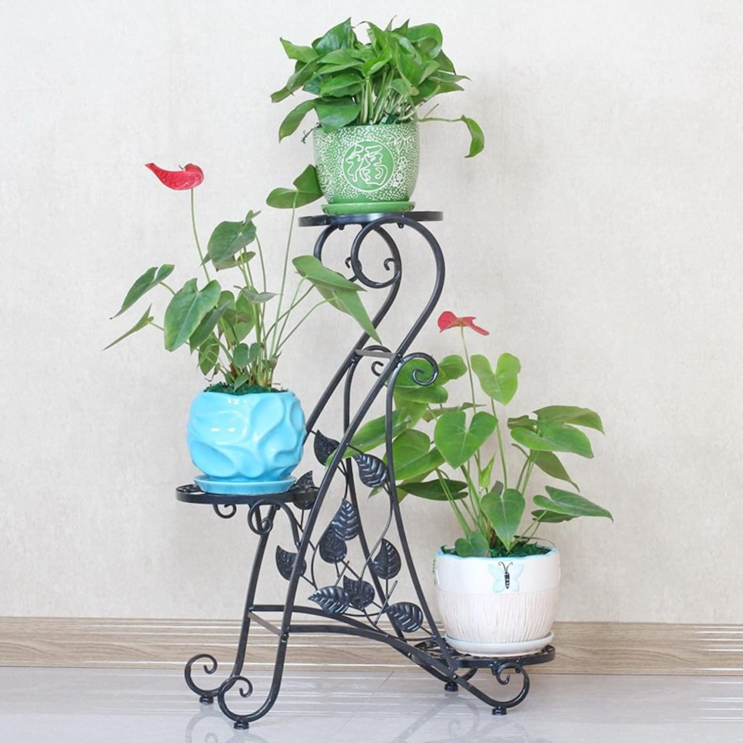 Fragrant Multi-Layer Indoor Balcony Rack Wrought Iron Solid Wood Living Room Space Flower Pot Floor-Standing Green Radish Black