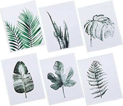IMIKEYA 6pcs Wall Hanging Painitngs Greenery Leaf Painitngs Wall Art Pictures Canvas Wall Art for Home Office Living Room Bedroom Wall Decoration