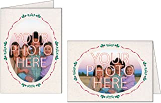 Photographer's Edge, Photo Insert Card (Oval), Natural w/Holiday Border, Set of 10 for 4x6 Photos