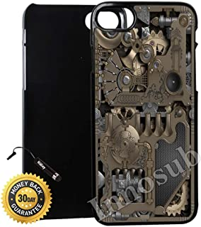 Custom iPhone 7 PLUS Case (Steampunk Mechanical Gears) Edge-to-Edge Plastic Black Cover with Shock and Scratch Protection | Lightweight, Ultra-Slim | Includes Stylus Pen by Innosub