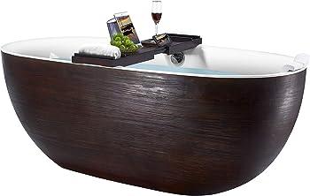 Akdy Freestanding Brown Wood Fiberglass Bathtub