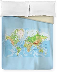 Lantern Press Highly Detailed World Map Illustration A-91613 (88x88 Queen Microfiber Duvet Cover)