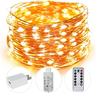 Fairy Lights, 100 LED 33FT USB Indoor String Lights with Remote Timer Adapter, Waterproof String LED Lights for Christmas, Party, Holidays, Garden, Wedding, Indoor, and Outdoor Decoration