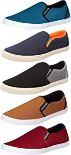Chevit Men's Blue; Grey; Tan and Maroon Canvas Casual Loafers and Sneakers Combo Pack of 5