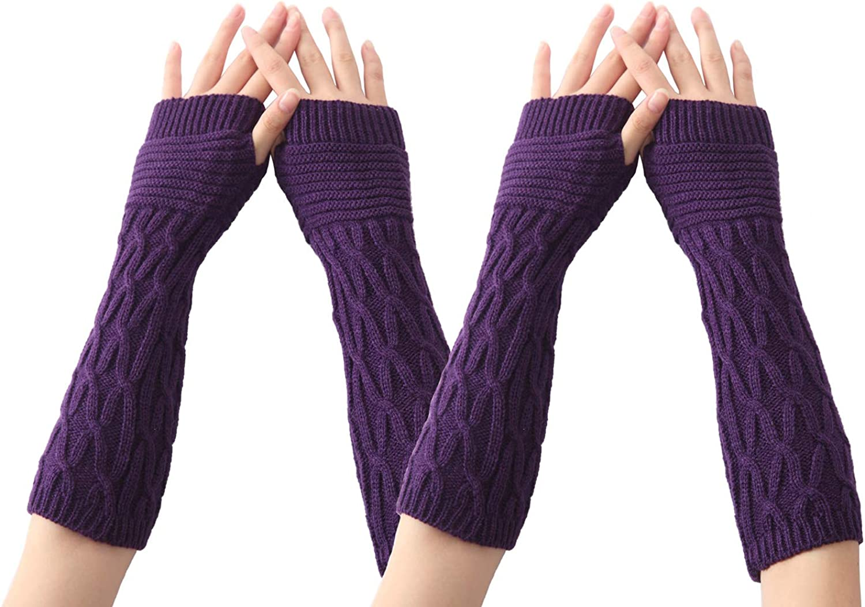 Xinqiao 2 Pairs Womens Winter Knit Arm Warmer Fingerless Glove Thumbhole Mittens