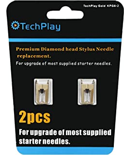 TechPlay Gold, pack of 2, Dimond tipped needle for Turntables (2Pack Gold). For up-grade of most standard supplied needels.