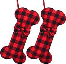 Cooraby 2 Pack Dog Christmas Stockings Buffalo Plaid Bone Shape Hanging Christmas Stocking for Christmas Decorations, 16 I...
